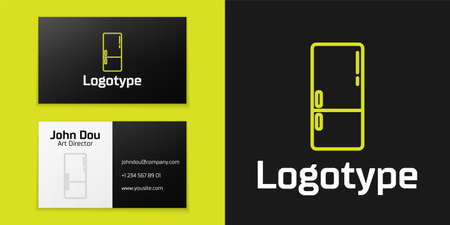 Refrigerator icon isolated on black background. Fridge freezer refrigerator. Household tech and appliances. Design template element. Vector