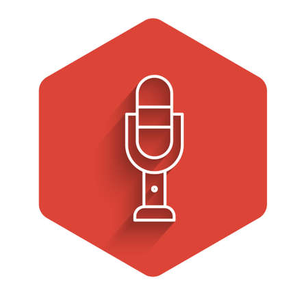 White line Microphone icon isolated with long shadow. On air radio mic microphone. Speaker sign. Red hexagon button. Vector Illustration