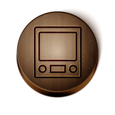 Brown line Electronic scales icon isolated on white background. Weight measure equipment. Wooden circle button. Vector