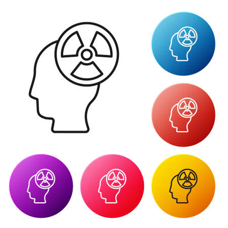 Black line Silhouette of a human head and a radiation symbol icon isolated on white background. Set icons colorful circle buttons. Vector