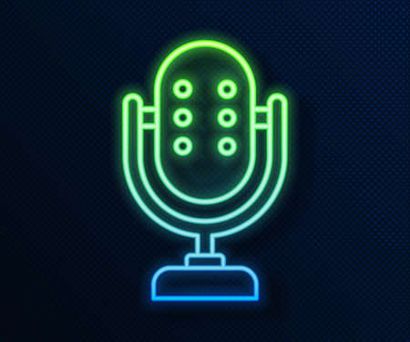 Glowing neon line Microphone icon isolated on blue background. On air radio mic microphone. Speaker sign. Vector