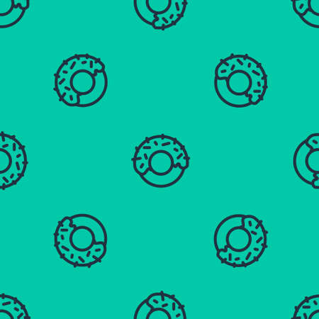 Blue line Donut with sweet glaze icon isolated seamless pattern on green background. Vector