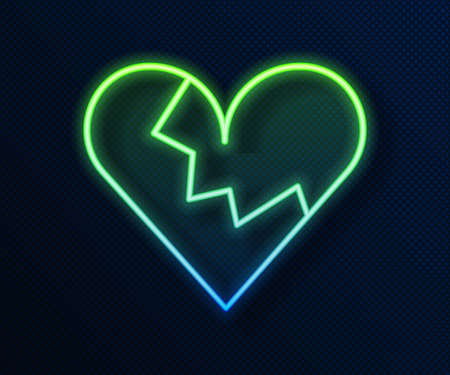 Glowing neon line Broken heart or divorce icon isolated on blue background. Love symbol. Valentines day. Vector