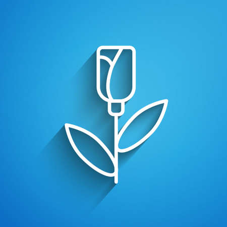 White line Flower rose icon isolated on blue background. Long shadow. Vector 일러스트