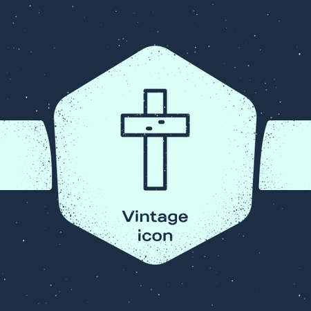 Grunge line Christian cross icon isolated on blue background. Church cross. Monochrome vintage drawing. Vector