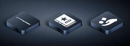 Set Isometric Magic wand, Cube levitating above hand and Ancient magic book icon. Vector