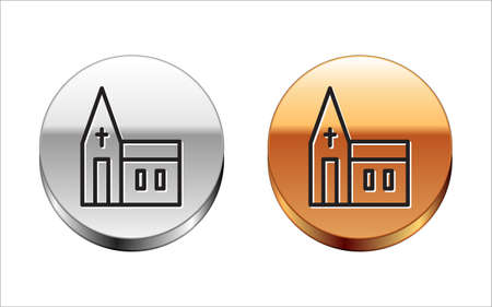 Black line Church building icon isolated on white background. Christian Church. Religion of church. Silver-gold circle button. Vector