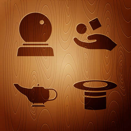 Set Magician hat, Magic ball, Magic lamp and Cube levitating above hand on wooden background. Vector Vectores