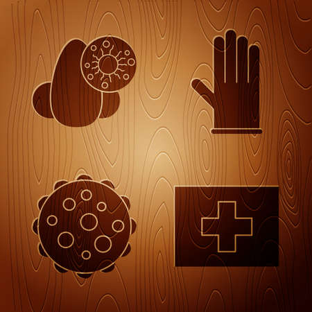 Set First aid kit, Runny nose and virus, Virus and Medical rubber gloves on wooden background. Vector