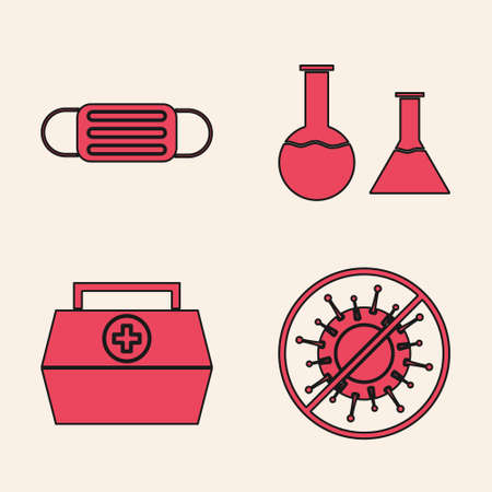 Set Stop virus, Medical protective mask, Test tube and flask and First aid kit icon. Vector