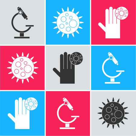 Set Microscope, Virus and Hand with virus icon. Vector