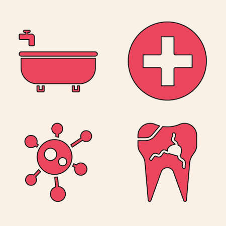 Set Broken tooth, Bathtub, Cross hospital medical and Virus icon. Vector