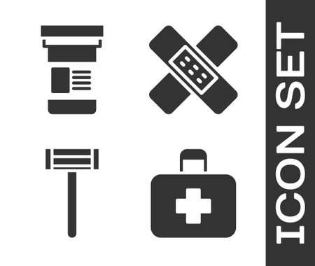 Set First aid kit, Medicine bottle, Shaving razor and Crossed bandage plaster icon. Vector