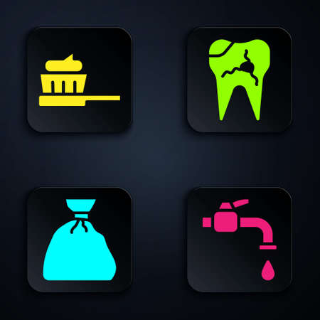 Set Water tap, Toothbrush with toothpaste, Garbage bag and Broken tooth. Black square button. Vector Illustration