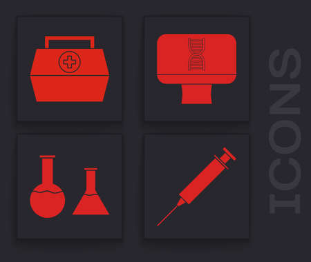 Set Syringe, First aid kit, DNA spiral and computer and Test tube and flask icon. Vector Illustration