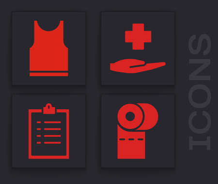 Set Toilet paper roll, Sleeveless T-shirt, Cross hospital medical and Clipboard with checklist icon. Vector Illustration