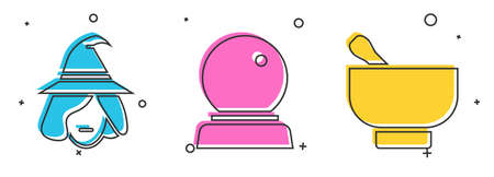 Set Witch, Magic ball and Magic mortar and pestle icon. Vector