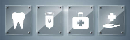 Set Cross hospital medical, First aid kit, Electrical hair clipper or shaver and Tooth. Square glass panels. Vector