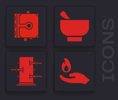Set Hand holding a fire, Ancient magic book, Magic mortar and pestle and Trunk for magic tricks icon. Vector