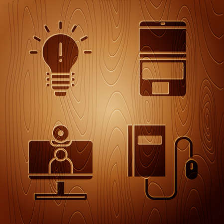 Set Electronic book with mouse, Light bulb with concept of idea, Video chat conference and Laptop on wooden background. Vector 矢量图像