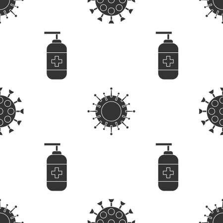 Set Virus, Virus and Bottle of liquid antibacterial soap on seamless pattern. Vector Illustration