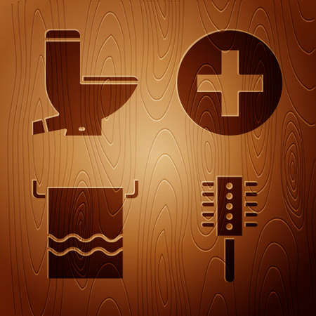 Set Hairbrush, Toilet bowl, Towel on a hanger and Cross hospital medical on wooden background. Vector