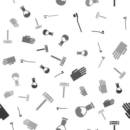 Set Toothbrush, Shaving brush, Rubber gloves and Shaving razor on seamless pattern. Vector