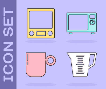 Set Measuring cup, Electronic scales, Coffee cup and Microwave oven icon. Vector