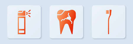 Set Broken tooth, Bottle with nozzle spray and Toothbrush. White square button. Vector Illustration
