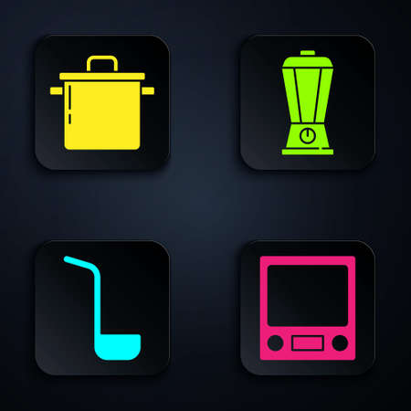 Set Electronic scales, Cooking pot, Kitchen ladle and Blender. Black square button. Vector