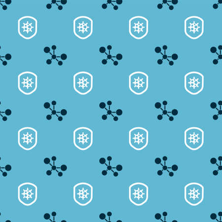 Set Molecule and Shield protecting from virus on seamless pattern. Vector