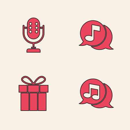 Set Musical note in speech bubble, Microphone, and Gift box icon. Vector