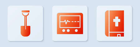 Set Beat dead in monitor, Shovel and Holy bible book. White square button. Vector