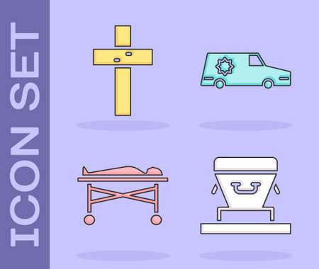 Set Coffin, Christian cross, Dead body in the morgue and Hearse car icon. Vector