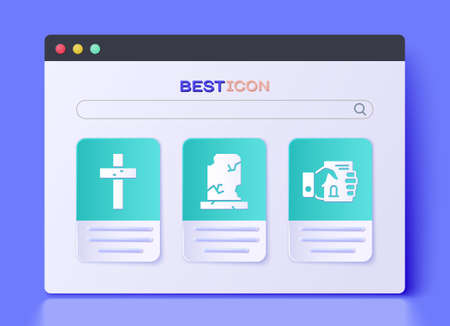 Set Old grave with tombstone, Christian cross and Death certificate in hand icon. Vector 向量圖像