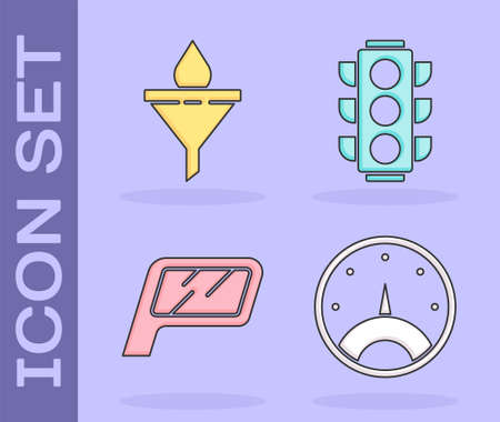 Set Speedometer, Funnel or filter and motor oil drop, Car mirror and Traffic light icon. Vector