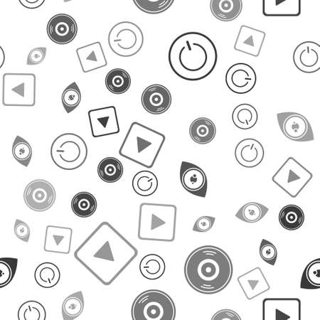 Set Power button, Vinyl disk, Eye and Play in square on seamless pattern. Vector