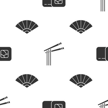 Set Sushi, Asian noodles and chopsticks and Paper chinese or japanese folding fan on seamless pattern. Vector Ilustração