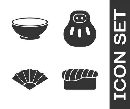 Set Sushi, Bowl of hot soup, Paper chinese or japanese folding fan and doll icon. Vector Ilustração