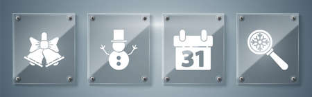 Set Magnifying glass with snowflake, Calendar, Christmas snowman and Merry Christmas ringing bell. Square glass panels. Vector 向量圖像