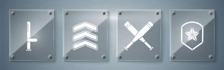 Set Police badge, Crossed baseball bat, Military rank and Police rubber baton. Square glass panels. Vector