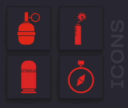 Set Compass, Hand grenade, Dynamite bomb stick clock and Cartridges icon. Vector