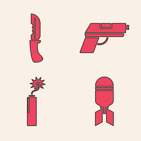Set Aviation bomb, Military knife, Pistol or gun and Dynamite bomb stick clock icon. Vector