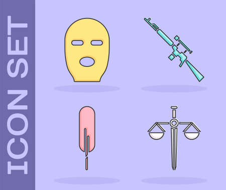 Set Scales of justice, Thief mask, Feather pen and Sniper rifle with scope icon. Vector 일러스트
