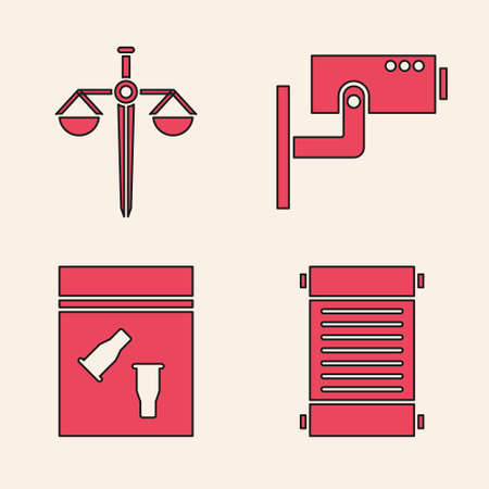 Set Decree, paper, parchment, scroll, Scales of justice, Security camera and Evidence bag and bullet icon. Vector