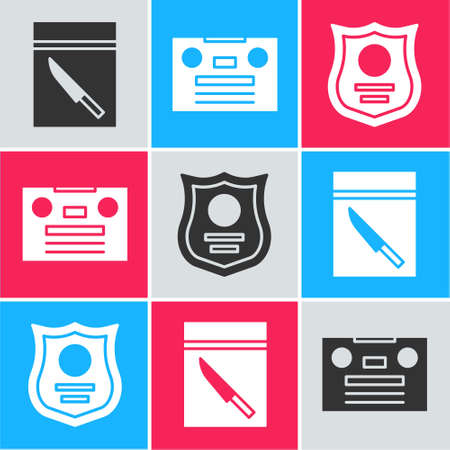 Set Evidence bag and knife, Retro audio cassette tape and Police badge icon. Vector
