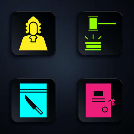 Set Lawsuit paper, Judge, Evidence bag and knife and Judge gavel. Black square button. Vector.