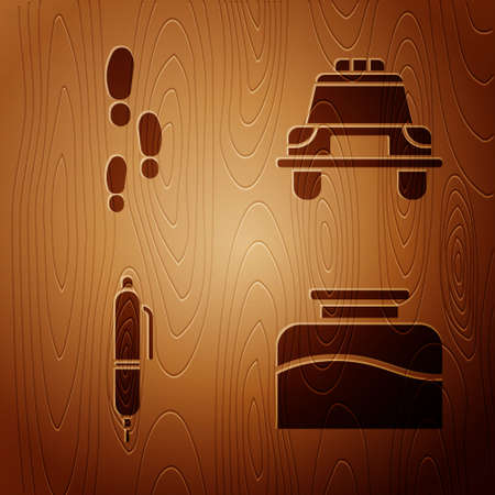 Set Inkwell, Footsteps, Pen and Police car and flasher on wooden background. Vector Illustration