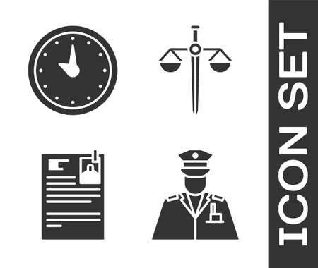 Set Police officer, Clock, Lawsuit paper and Scales of justice icon. Vector.