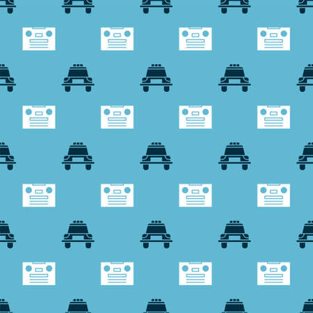 Set Police car and flasher and Retro audio cassette tape on seamless pattern. Vector